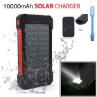 "FLUS ""10000mAh"" 2-USB Solar Power Bank + LED + Bag - Red + Black"