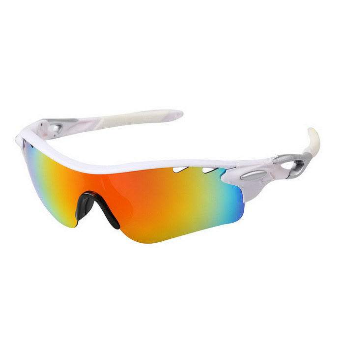Outdoor Polarized Red REVO Lens Sunglasses Goggles - White + Silver