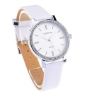 WESTCHI W3116LWE-4 Women's Leather Band Quartz Watch - Silver + White