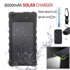 "SUNGZU 2-USB ""8000mAh"" Solar Power Bank + LED + Bag - Black"