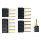 6P + 8P + 10P + 2*3P Gold-Plated Long Female Pin Header Kit for Arduino Board - Black + Golden