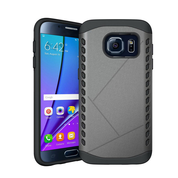 Shockproof TPU Back Case for Samsung Galaxy S7 - Gray + Black