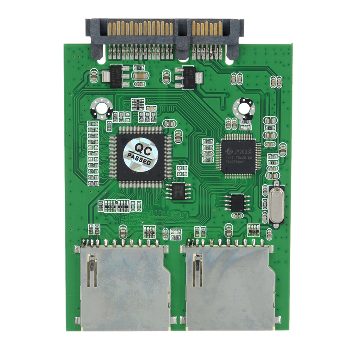 Dual SD Card to SATA Converter Adapter - Green