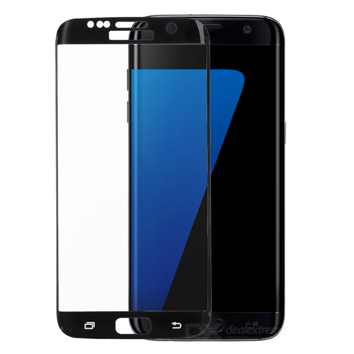 Glass Screen Guard for Samsung Galaxy S7 Edge - Black + Transparent
