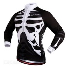 WOSAWE BC273-00S Spring Long-Sleeve Cycling Jersey - Black + White (S)
