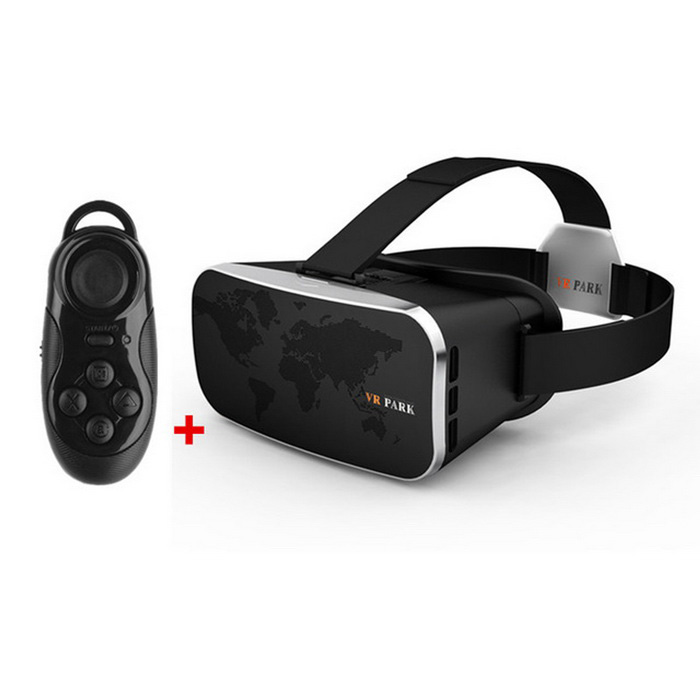 VR Park V3+ Polarized Virtual Reality 3D Glasses + Phone Wireless Remote Controller - Black