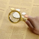 12X 4cm Magnifier / Metallic Keychain - Golden + Transparent