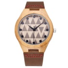 Men's Leather Band Analog Quartz Bamboo Watch - Coffee (1*S377)