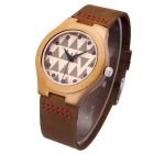 Women's Leather Band Analog Quartz Bamboo Watch - Coffee (1*S377)