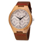 Men's Leather Band Quartz Analog Bamboo Watch - Coffee (1*S377)