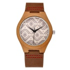Women's Leather Band Quartz Analog Bamboo Watch - Coffee (1*S377)