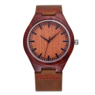 Unisex PU Band Quartz Analog Sandalwood Watch - Coffee (1*S377)
