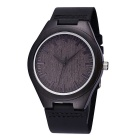Unisex PU Band Quartz Analog Sandalwood Watch - Black (1*S377)