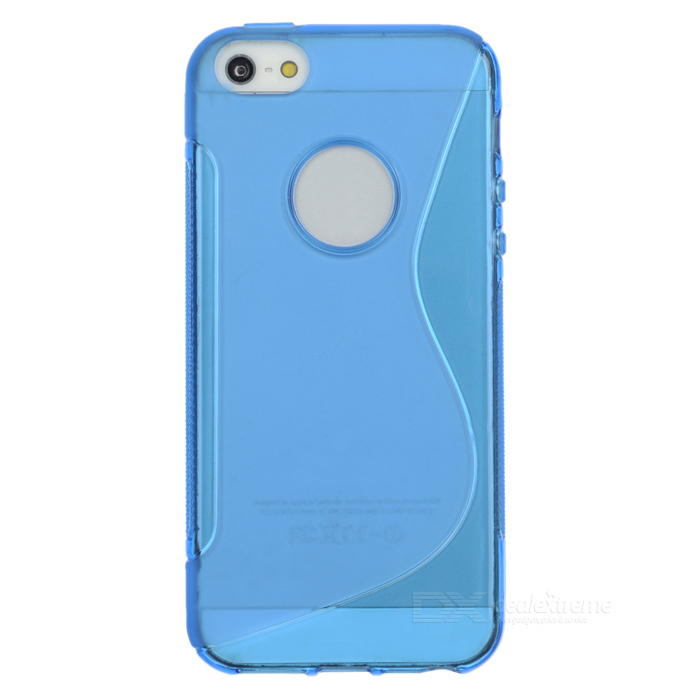 S Pattern Protective TPU Back Case for IPHONE SE - Transparent BlueTPU Cases<br>Form  ColorTranslucent BlueQuantity1 DX.PCM.Model.AttributeModel.UnitMaterialTPUCompatible ModelsOthers,IPHONE SEDesignSolid ColorStyleBack CasesPacking List1 x Case<br>