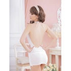 Women's Deep V Neck Sexy Backless Tight Underwear Lingerie - White