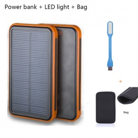 10000mAh Solar Charger Power Bank + LED Light + Bag for IPHONE