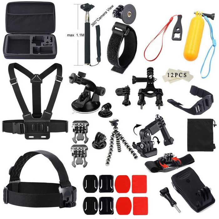 Pro 47-in-1 Accessories Basic Travel Kit for Gopro, Sjcam - BlackMounting Accessories<br>Form ColorBlack + Blue + Multi-ColoredQuantity1 DX.PCM.Model.AttributeModel.UnitMaterialPlastic + Aluminum AlloyShade Of ColorBlackCompatible ModelsOthers,GoPro Hero 1,GoPro Hero 2,GoPro Hero 3,GoPro Hero 3+,GoPro Hero 4,GoPro Hero 4 Session,SJ4000, SJ5000, Sjcam, Xiaomi YIRetractableNoMax.Load1000 DX.PCM.Model.AttributeModel.UnitPacking List1 x L box1 x Retractable handheld monopod1 x Wrist Strap3 x GoPro Adapter1 x Wrench1 x Floating grip mount1 x Chest strap1 x Car suction cup mount holder1 x Long pole1 x Short pole1 x Bike Handlebar Holder Mount12 x Anti-fog Insert for GoPro1 x Helmet Strap2 x Clamp1 x Octopus tripod1 x Three-way Adjustable Pivot Arm1x Bag1x360 Rotary Clip Mount1 x Headband2 x Square mounts2 x Oval mounts2 x Square 3M glues2 x Oval 3M glues1 x Bag clip4 x Long screws1 x Short screws<br>