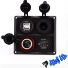 USB Charger / Cigarette Lighter / Volt-ammeter for Car Boat - Black