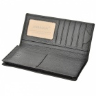 Stylish Top Layer Cowhide Leather Men's Long Wallet Purse - Black