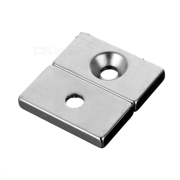30*16*5mm Rectangular NdFeB Magnet w/ 4mm Hole - Silver (2PCS)