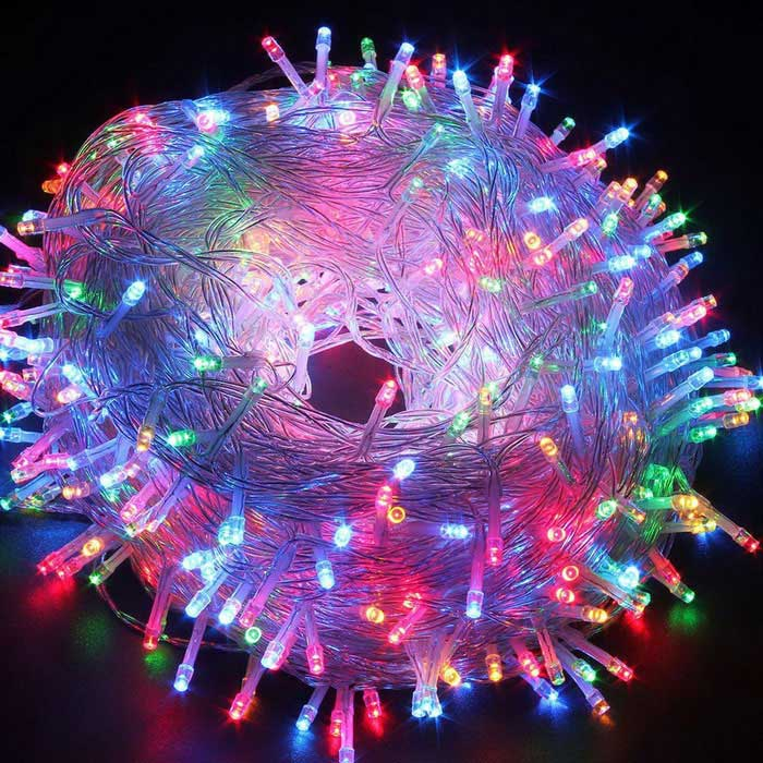 Christmas 6W Multicolored Twinkle LED Fairy String Lights 100LED 33ftLED String<br>Form ColorTransparent + Silver WhiteColor BINMulti-colorModelFLEDT01-RGBMaterialLED + PlasticQuantity1 DX.PCM.Model.AttributeModel.UnitPower6WRated VoltageAC 220-240 DX.PCM.Model.AttributeModel.UnitChip BrandOthers,-Emitter TypeLEDTotal Emitters100WavelengthN/AActual Lumens50~80 DX.PCM.Model.AttributeModel.UnitPower AdapterEU PlugOther FeaturesMulti working modePacking List1 x LED Twinkle String Lights1 x Box<br>