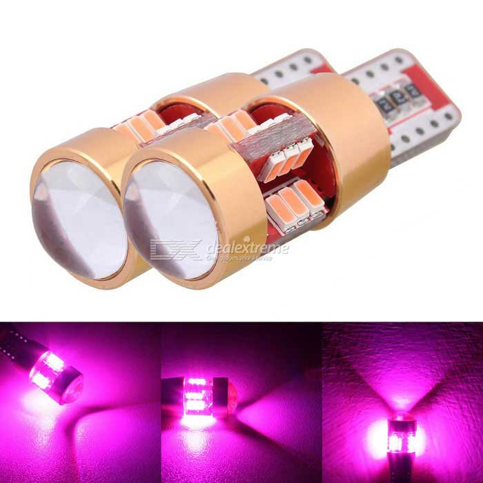 MZ T10 3W 27-3014 SMD Pink LED Car Clearance Lamps (DC 12~24V / Pair)LED Wedge Bulbs<br>Color BINPinkModelN/AQuantity2 DX.PCM.Model.AttributeModel.UnitMaterialPCBForm ColorRed + GoldenEmitter TypeLEDChip BrandOthers,N/AChip Type3014 SMD LEDTotal EmittersOthers,27Power3WWavelength360~380 DX.PCM.Model.AttributeModel.UnitTheoretical Lumens500 DX.PCM.Model.AttributeModel.UnitActual Lumens400 DX.PCM.Model.AttributeModel.UnitRate VoltageDC 12~24VWaterproof FunctionNoConnector TypeT10ApplicationLicense plate light,Clearance lamp,Reading lampPacking List2 x LED Lights<br>
