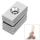 30*16*5mm Rectangular NdFeB Magnet w/ 4mm Hole - Silver (5PCS)
