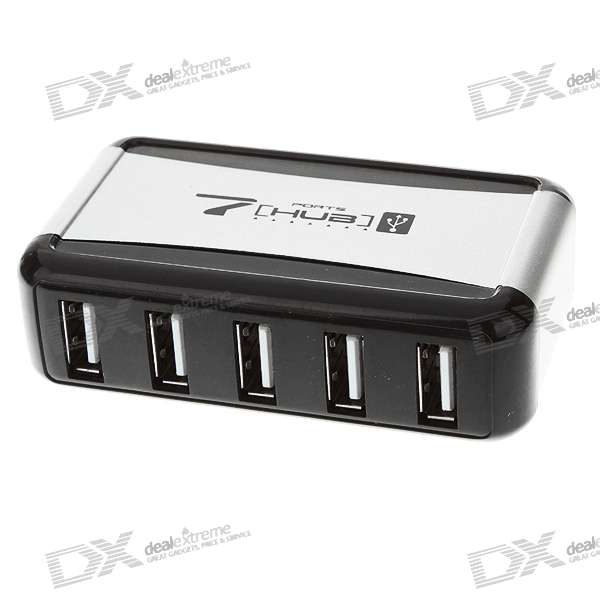 High Speed 7-Port USB 2.0 Hub with Vertical Stand - Silver (110~240V AC Adapter)
