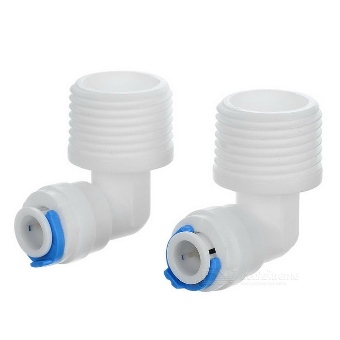 "6.3mm 1/2"" to 1/4"" Water Pipe Hose Tube Quick Connector - White (2PCS)"