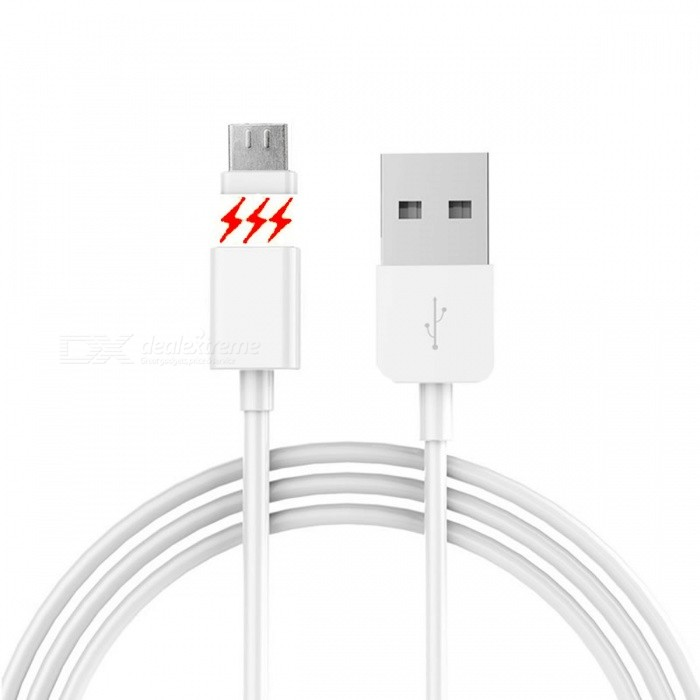 8Pin Micro USB Magnetic Adhesion Data Sync Charging Cable - White (1m)