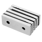 50*20*5mm Square NdFeB Magnet w/ 4mm Holes - Silver (5PCS)