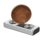 30*10*5mm Square NdFeB Magnet w/ 4mm Holes - Silver