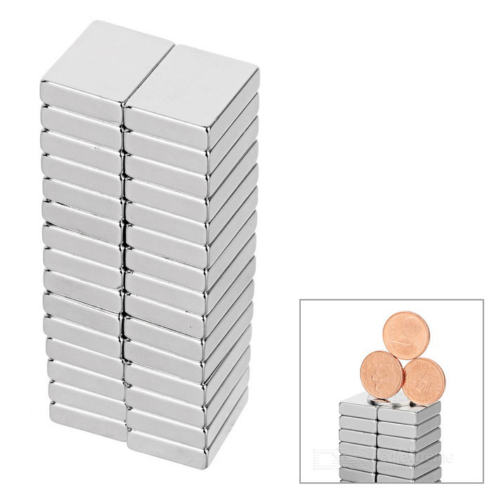 20 * 15 * 5 mm rectangular imán de NdFeB - plata (30PCS)