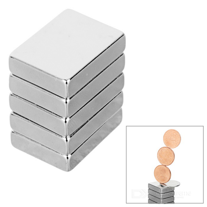 20 * 15 * 5mm Rectangular NdFeB Magnet - Argent (5PCS)