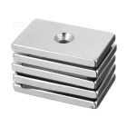 50*30*5 Rectangular Strong Magnetism NdFeB Magnet w/ Hole - Silver (5PCS)