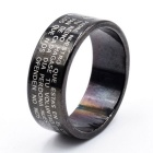 Cross Letters Style Titanium Steel Finger Ring - Black (US Size 18)