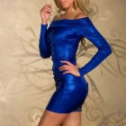 Tight-Fitting Long-Sleeve Hip Package Off Collar Lingerie - Blue (L)