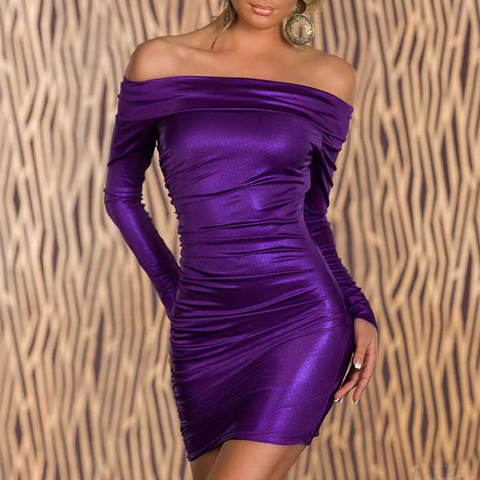 Tight-Fitting Long-Sleeve Hip Package Off Collar Lingerie - Purple (M)(SKU 427579)