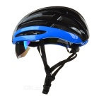 MOON Cycling Bike Safety Helmet w/ Removable Lens - Black + Blue (L)