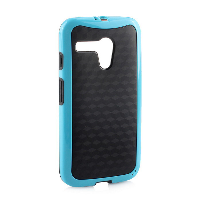 Stylish 3D Wall Carbon Fiber Stlye Protective Back Case for MOTO G - Black + Blue