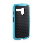 Protective TPU Back Case for MOTO G - Black + Blue