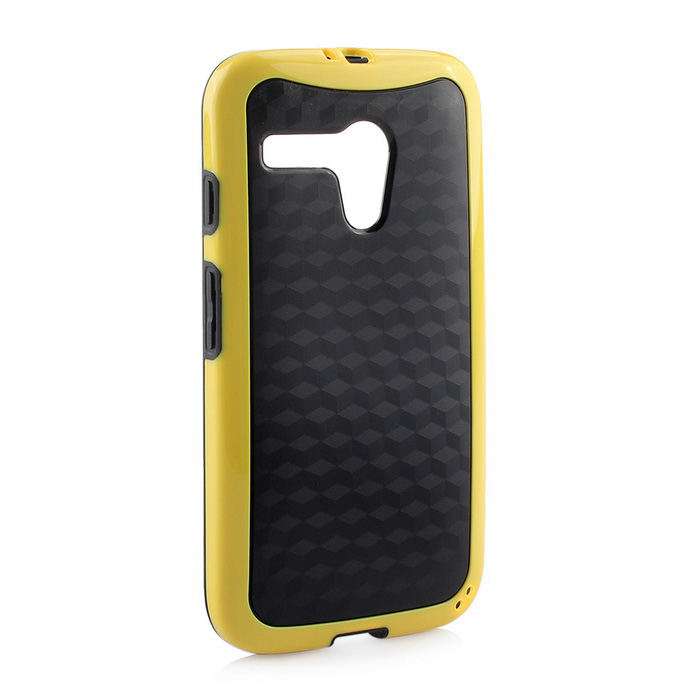 Protective TPU Back Case for MOTO G - Black + Yellow