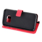 PU Leather Case w/ Holder Card Slot for Samsung Galaxy S7 - Red