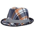 Fashionable Unisex Checks Pattern Cotton Trilby Hat - Blue + Black