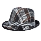 Fashionable Unisex Checks Pattern Cotton Trilby Hat - Coffee + White