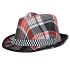 Fashionable Unisex Checks Pattern Cotton Trilby Hat - Black + Red