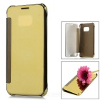 PU + ABS Mirror Cover Protective Flip Case for Samsung Galaxy S7 - Golden