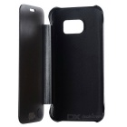 Mirror PU Leather Cover Clear Case for Samsung Galaxy S7 - Black