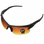 Men's Driving UV400 Protection Plastic Frame Resin Lenses Goggles Eyewear - Black + Tawny