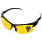 Men's Driving UV400 Protection Plastic Frame Resin Lenses Goggles Eyewear - Black + Yellow